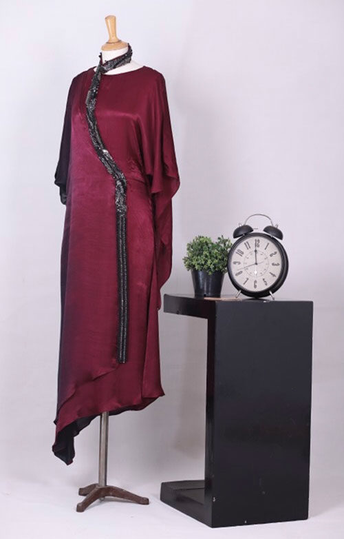 Raisin-Wine Fashion Designer Dress in Pakistan